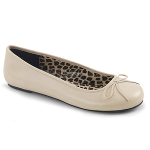 cream classic adult ballet flat with bow accent Anna-01