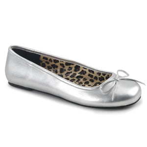 silver classic adult ballet flat with bow accent Anna-01