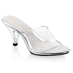 Clear slipper shoes with 3-inch clear heels Belle-301