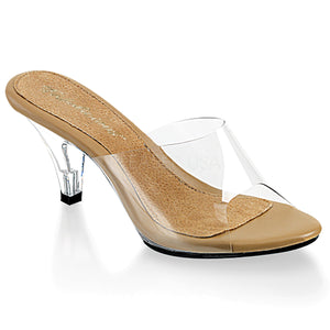 Clear and tan slipper shoes with 3-inch clear heels Belle-301
