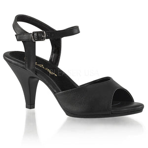 black faux leather Ankle strap sandal woman's shoe with 3-inch heel Belle-309