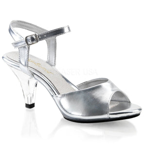 silver Ankle strap sandal woman's shoe with 3-inch heel Belle-309