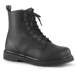 lace-up mid calf black vegan unisex boots Bolt-100