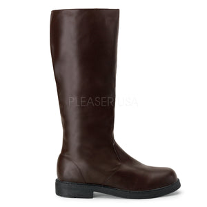 Men's brown faux leather knee high boot with 1-inch heels Captain-100
