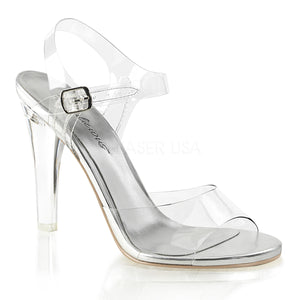 clear ankle strap sandals with 4.5-inch spike heels Clearly-408