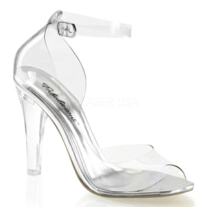clear closed back ankle strap sandals with 4.5-inch clear spike heels