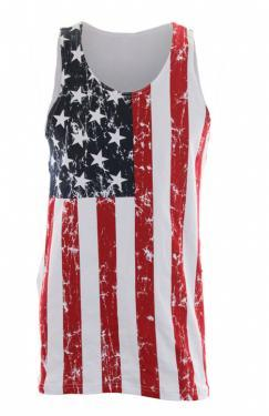CS-MU3USA Distressed American Flag Sleeveless Shirt