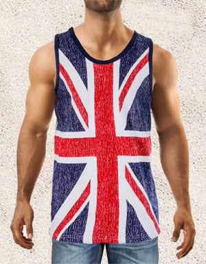 men's British flag tank top shirt MUHDBF worn by model