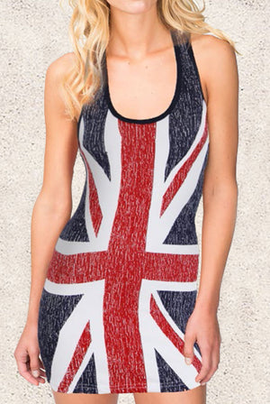 United Kingdom flag bikini cover-up beach dress with the Union Jack ST3DBF