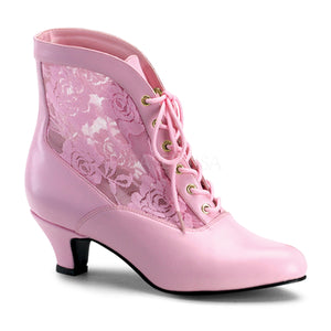 pink Victorian lace ankle boot with 2-inch heel Dame-05
