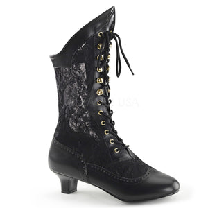 black Victorian lace ankle boots with 2-inch heel Dame-115