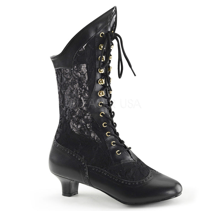 Victorian Lace Ankle Boots with 2-inch Heel 3-colors