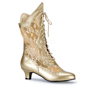 gold Victorian lace ankle boots with 2-inch heel Dame-115