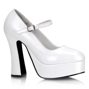 white Mary Jane platform shoes with 5-inch chunky heels Dolly-50