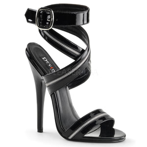 Black Zipper Strap Sandal with 6-inch Heel