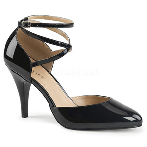 black Crisscross ankle strap D'Orsay pump shoes with 4-inch Dream-408