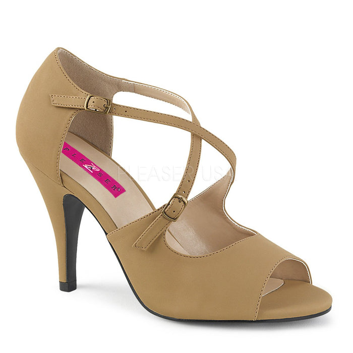 Peep Toe Crisscross Ankle Strap Sandal with 4-inch Heel 2-colors