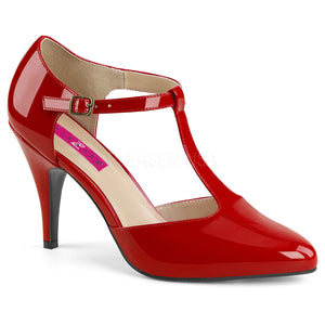 red T-strap pump shoes with 4-inch spike heel Dream-425