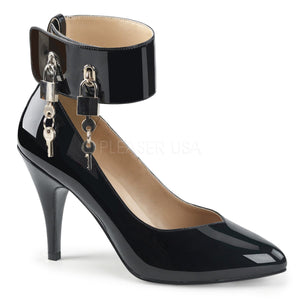 black wide band locking ankle strap pump shoes with 4-inch Dream-432