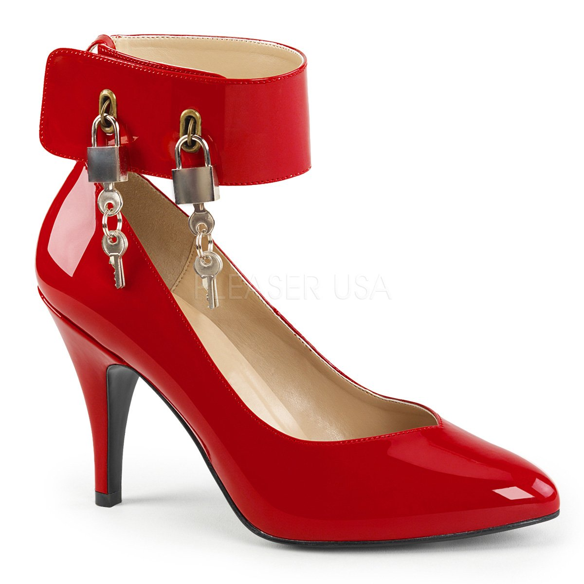 0aa3c8ee982 Wide Band Locking Ankle Strap Pump Shoes 4-inch Heel
