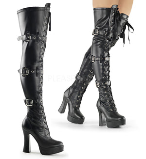 two pics black front lace-up thigh high boot with buckles Electra-3028