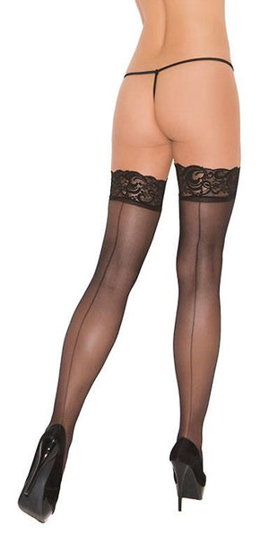 rear view sheer black thigh high stockings with back seam EM-1702