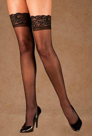 Sheer Lace Top Stockings with Back Seam