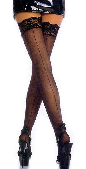 back of sheer black thigh high stockings with back seam EM-1702
