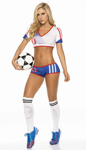 full view of USA Soccer Girl 2-pc costume 6207
