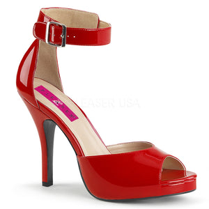 red closed back sandal with ankle strap and 5-inch heel Eve-2