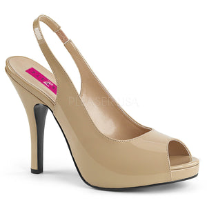 cream peep toe slingback sandal with 5-inch spike heel Eve-04