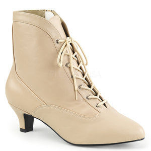 cream lace-up ankle boots with 2-inch heels Fab-1005
