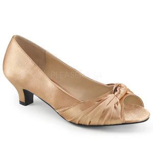blush satin peep toe pump shoes with 2-inch heels Fab-422
