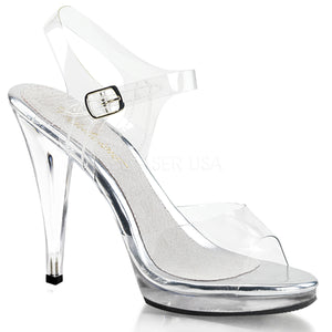 clear sandal shoes with clear 4.5-inch spike heels Flair-408