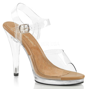 clear and tan sandal shoes with clear 4.5-inch spike heels Flair-408