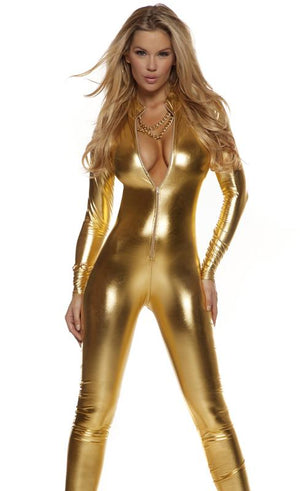 Low neckline shiny gold metallic long sleeve catsuit 113505
