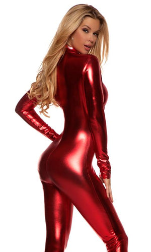 back view of Low neckline shiny red metallic long sleeve catsuit 113505