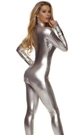 back of Low neckline shiny silver metallic long sleeve catsuit 113505