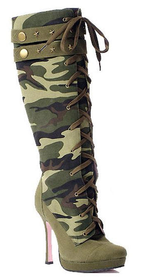 Sergeant knee high sexy camouflage women's Army boots 5025