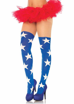 Blue Superstar Wonder Women opaque tights 7730
