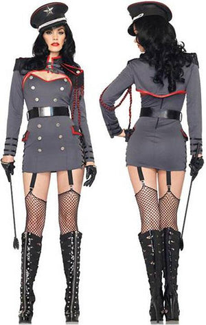 front and back of General Punishment sexy adult 4-pc military costume 83942
