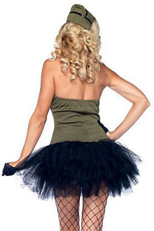 back of military USO Gal 2-piece Army costume 85005
