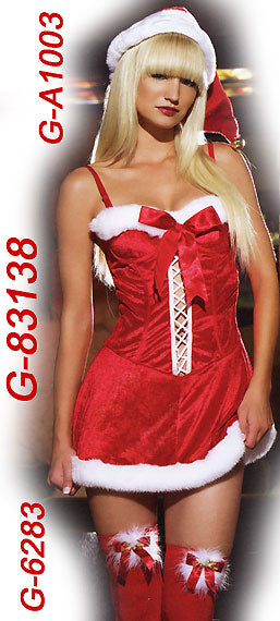Red Velvet Santa Lace-up Mini-Dress
