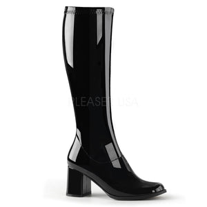 side of black knee high GoGo boots 3-inch heel sizes 5-16