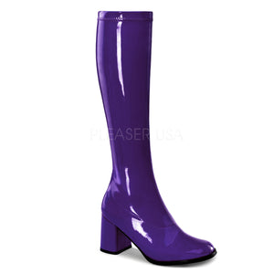 purple knee high GoGo boots 3-inch heel sizes 5-16