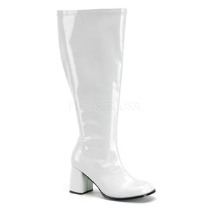 Plus size patent gogo boots with 3-inch chunky heels GoGo-300X