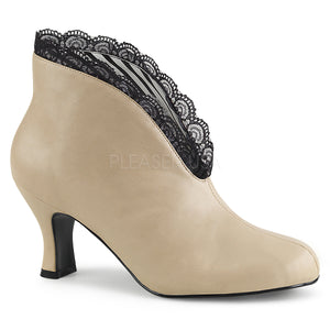 cream slip-on ankle boot with lace and 3-inch heel Jenna-105