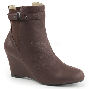 brown ankle boot with 3-inch wedge heel Kimberly-102
