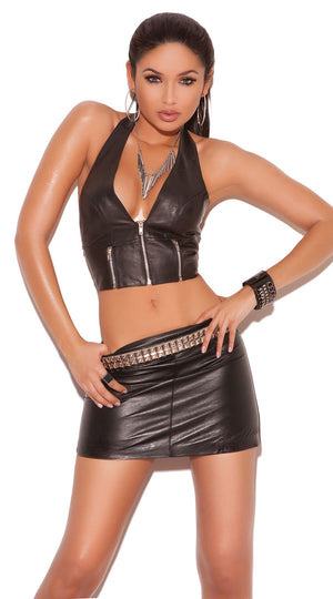 full view of leather halter top with front zipper L4113 with skirt