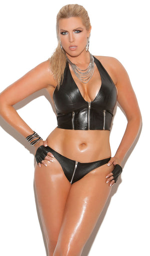 plus size leather halter top with front zipper L4113X with thong